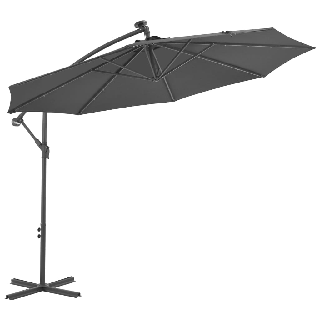 Cantilever Umbrella LED Lights and Steel Pole 300cm Anthracite 1