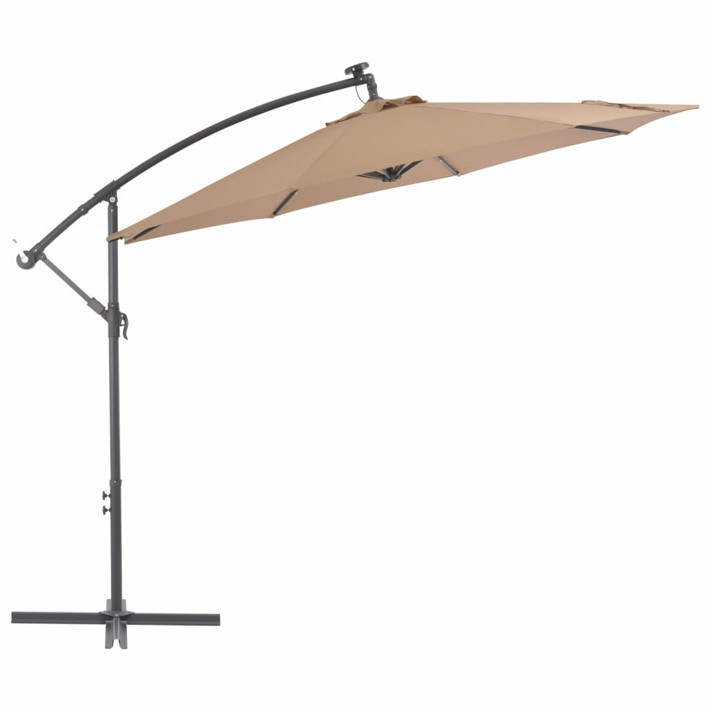 Cantilever Umbrella with LED Lights and Steel Pole 300 cm Taupe