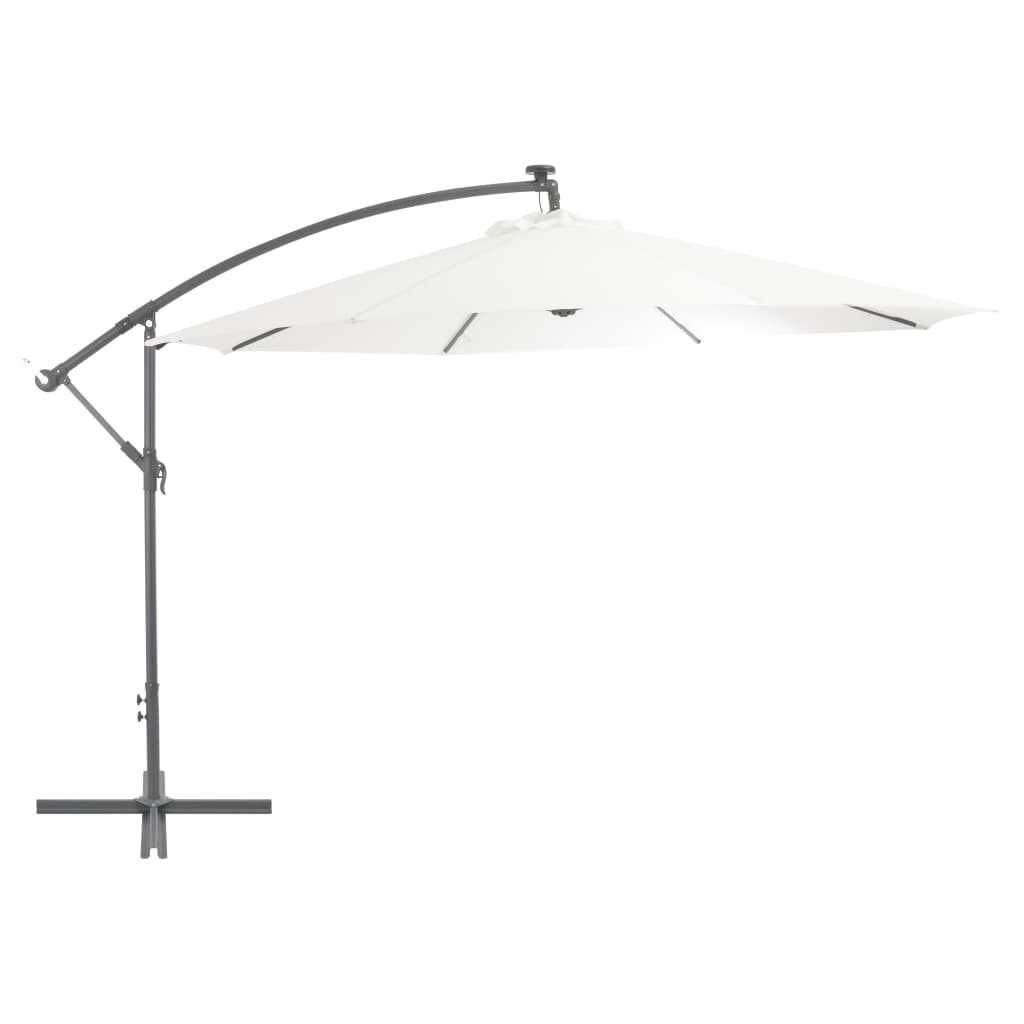 Cantilever Umbrella with LED Lights and Metal Pole 350 cm Sand 1