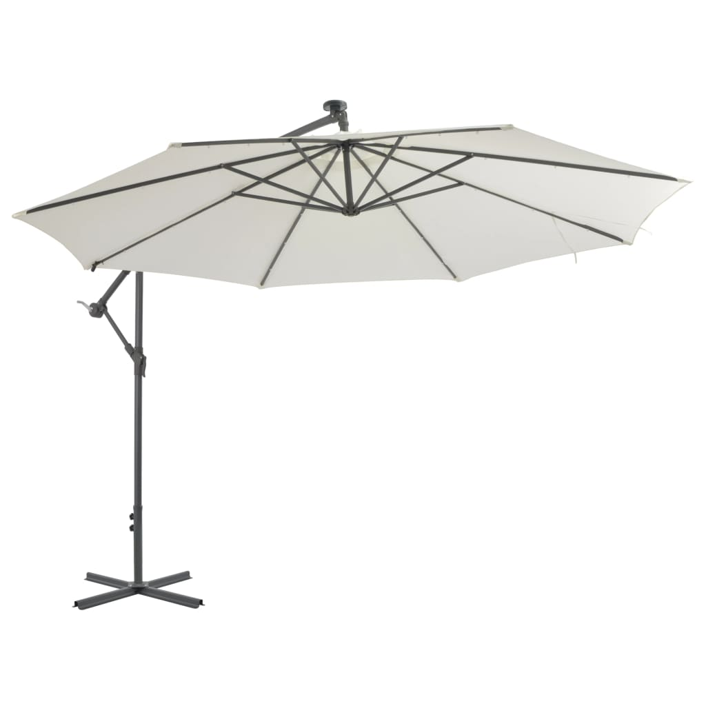 Cantilever Umbrella with LED Lights and Metal Pole 350 cm Sand 2