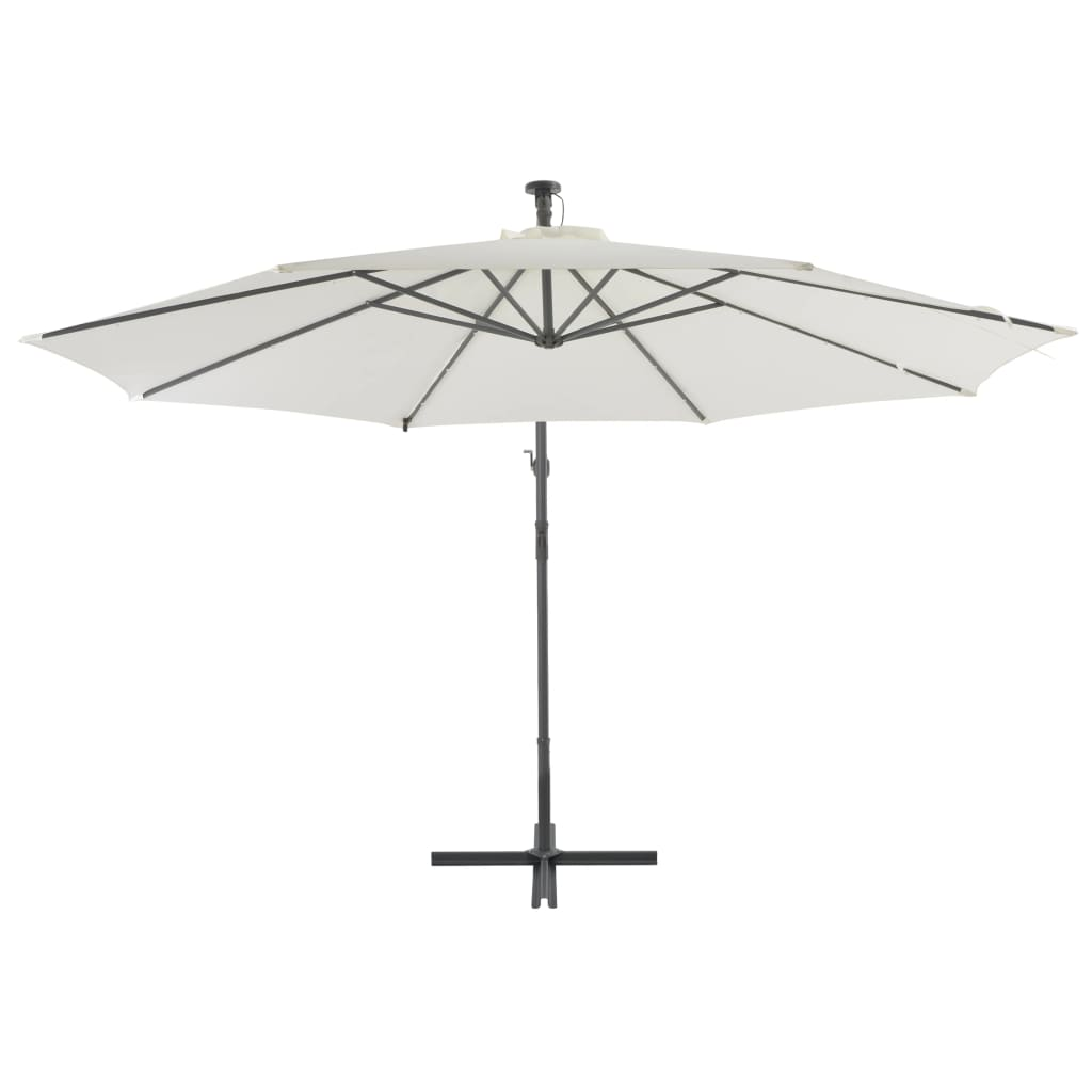 Cantilever Umbrella with LED Lights and Metal Pole 350 cm Sand 3