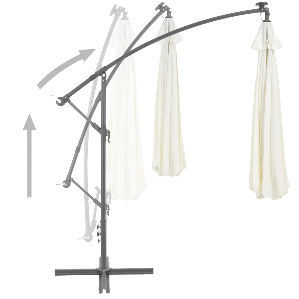 Cantilever Umbrella with LED Lights and Metal Pole 350 cm Sand 4