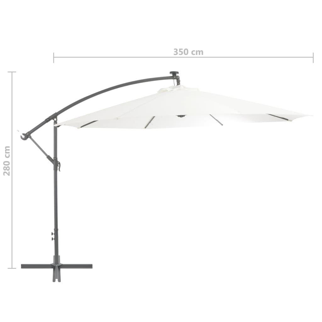 Cantilever Umbrella with LED Lights and Metal Pole 350 cm Sand 9