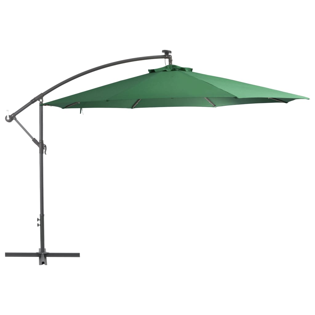 Cantilever Umbrella with LED Lights and Metal Pole 350 cm Green 1