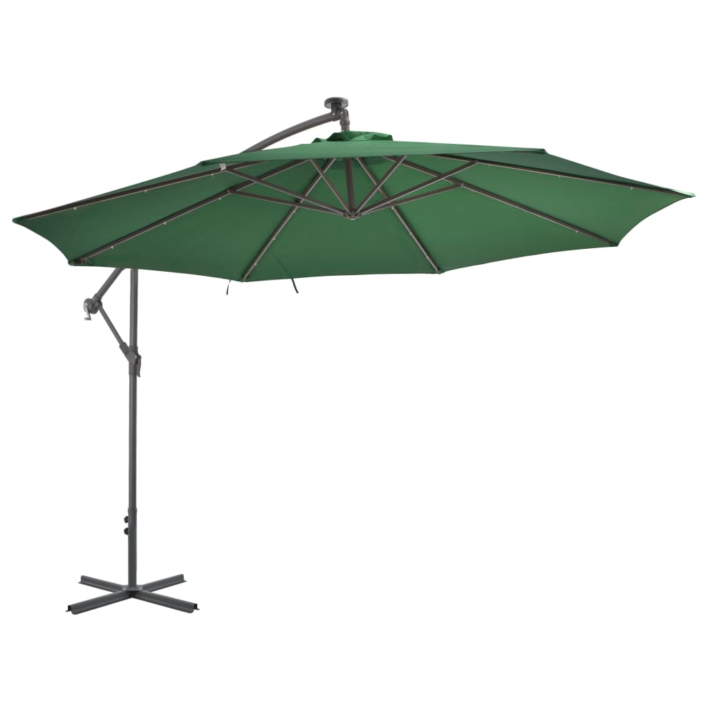 Cantilever Umbrella with LED Lights and Metal Pole 350 cm Green 2