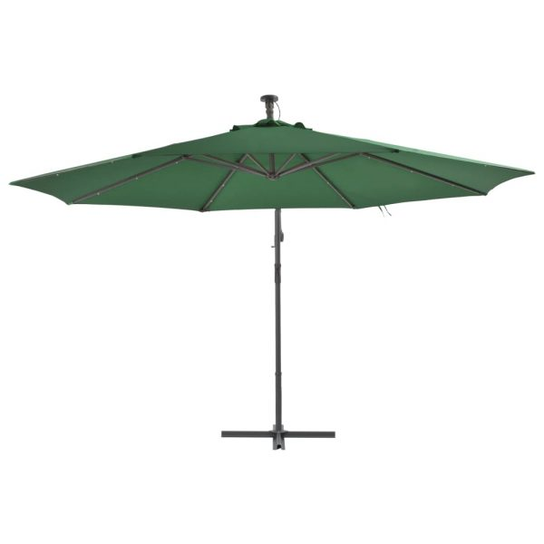Cantilever Umbrella with LED Lights and Metal Pole 350 cm Green 3