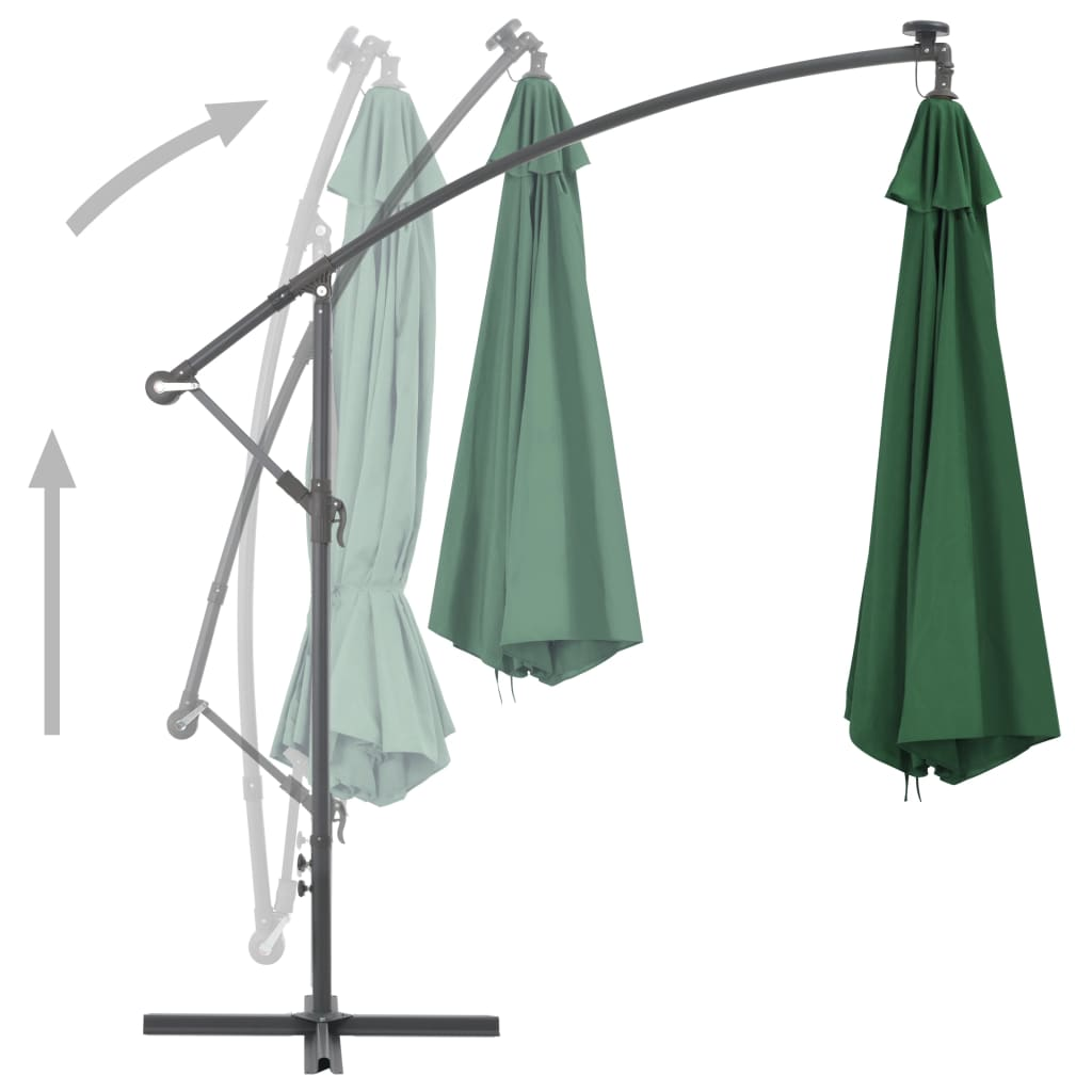 Cantilever Umbrella with LED Lights and Metal Pole 350 cm Green 4
