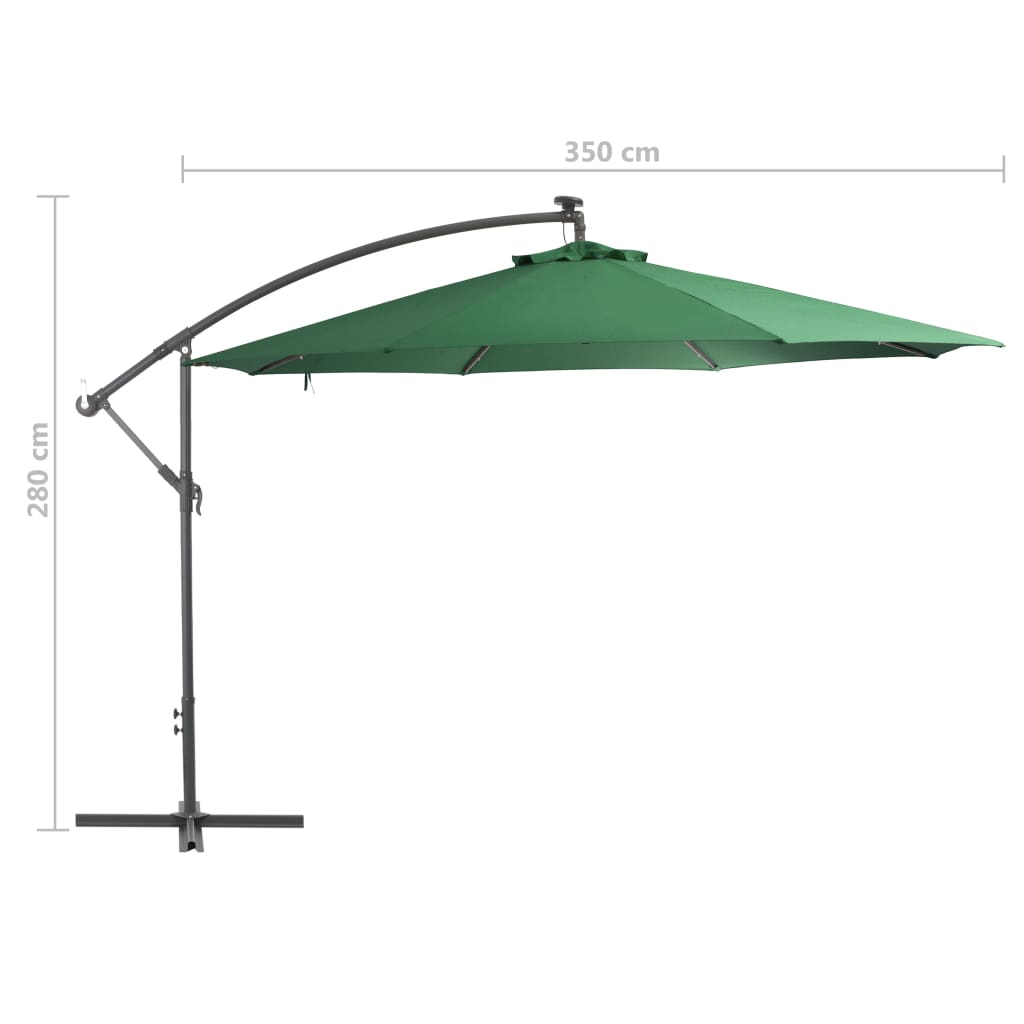 Cantilever Umbrella with LED Lights and Metal Pole 350 cm Green 9