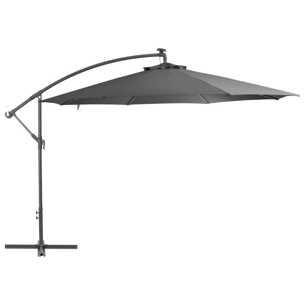 Cantilever Umbrella with LED Lights and Metal Pole 350 cm Anthracite 1