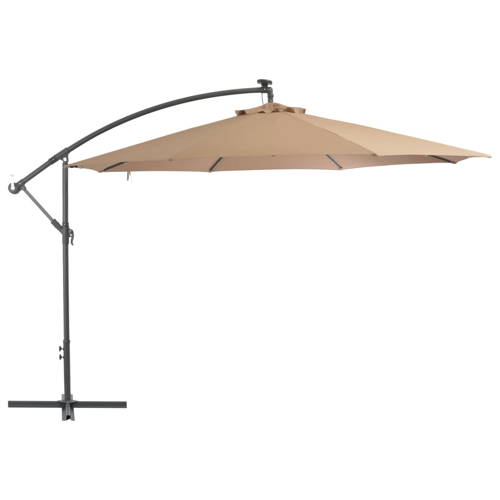 Cantilever Umbrella with LED Lights and Metal Pole 350 cm Taupe 1