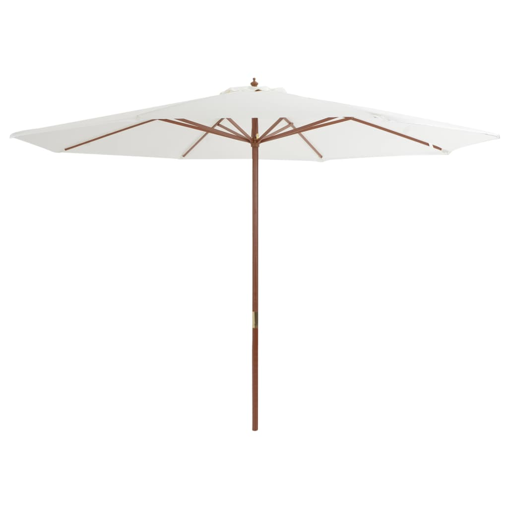 Outdoor Parasol with Wooden Pole 350 cm Sand White 1