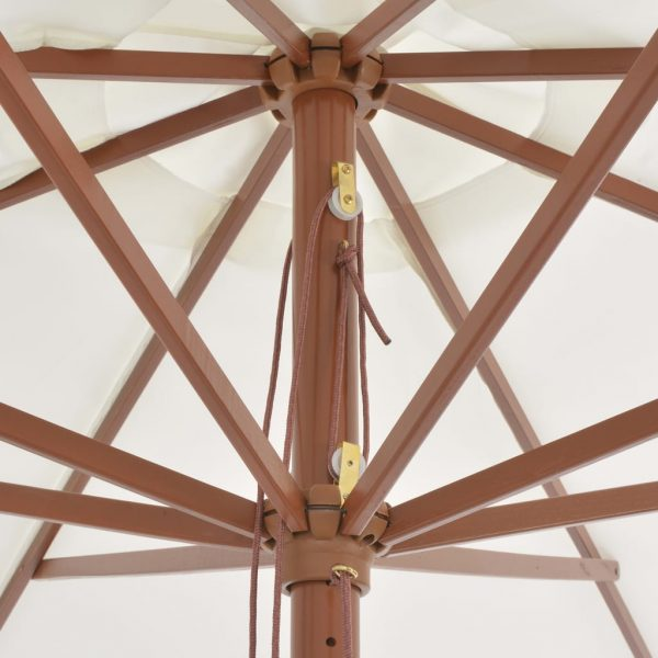 Outdoor Parasol with Wooden Pole 350 cm Sand White 2