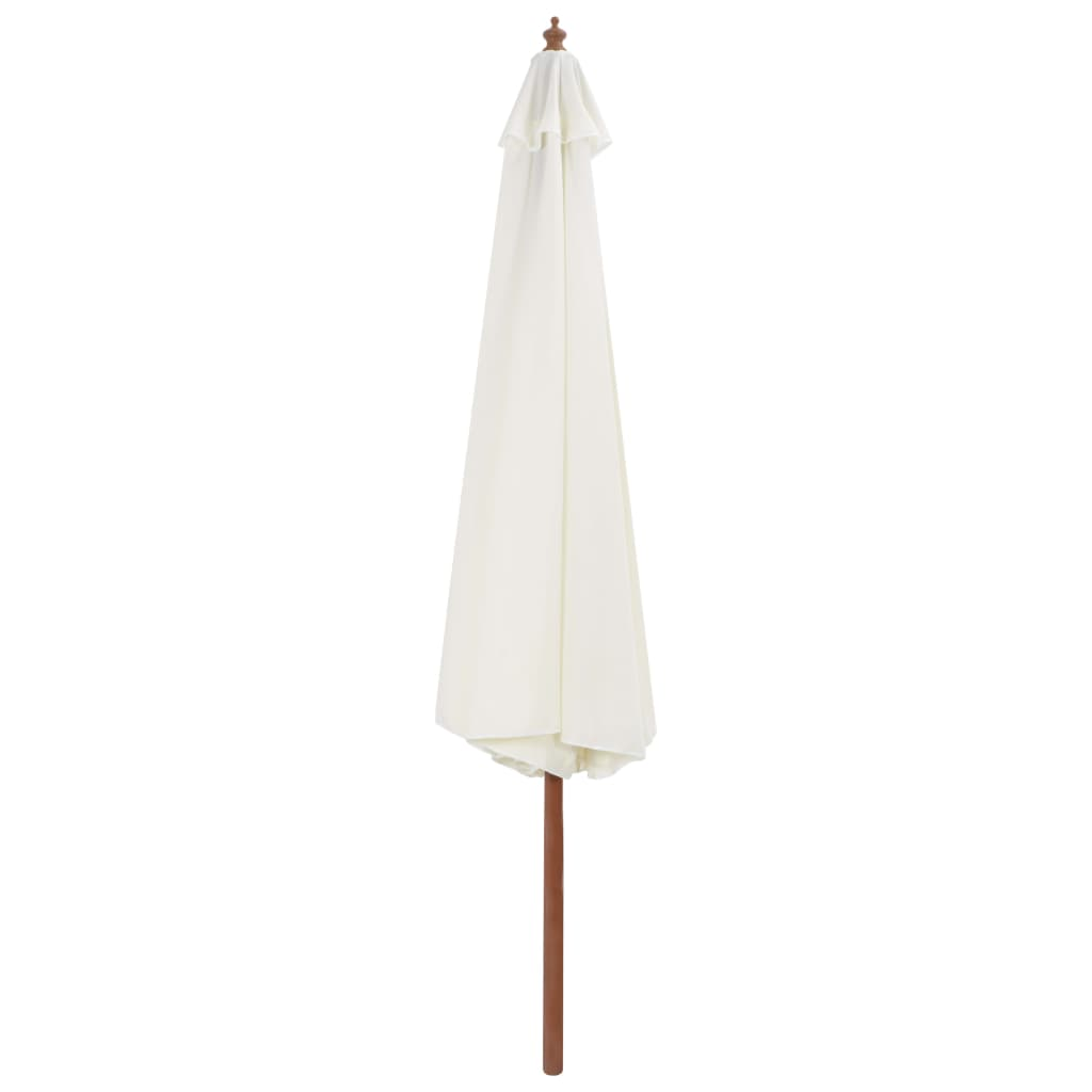 Outdoor Parasol with Wooden Pole 350 cm Sand White 3