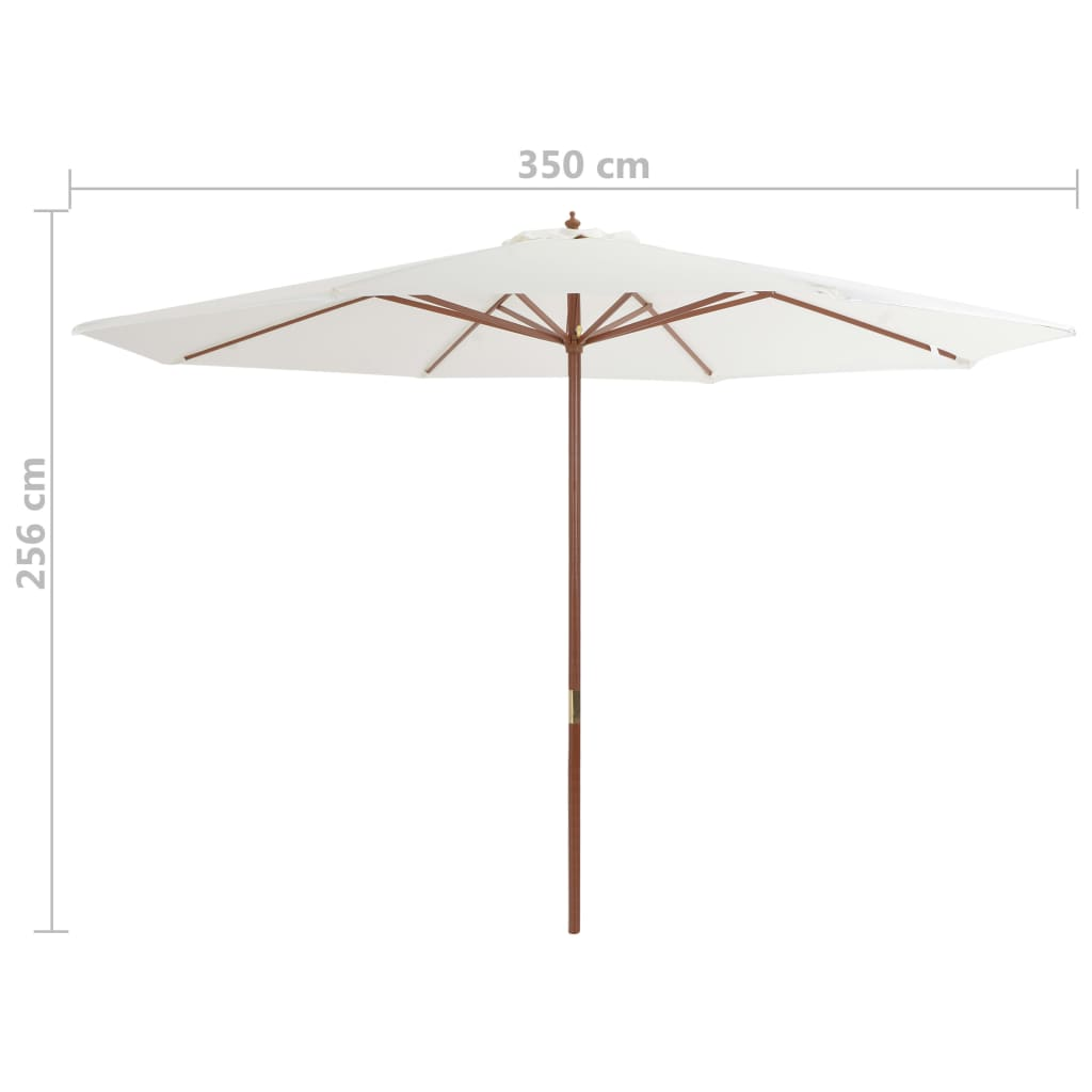 Outdoor Parasol with Wooden Pole 350 cm Sand White 4