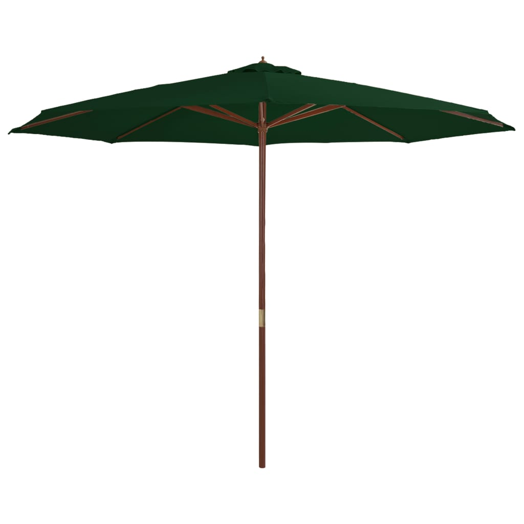 Outdoor Parasol with Wooden Pole 350 cm Green