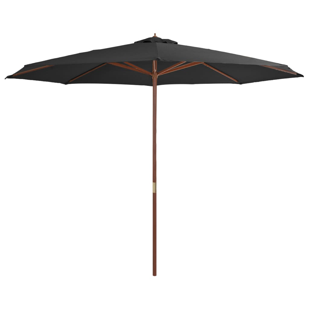 Outdoor Parasol with Wooden Pole 350 cm Anthracite 1