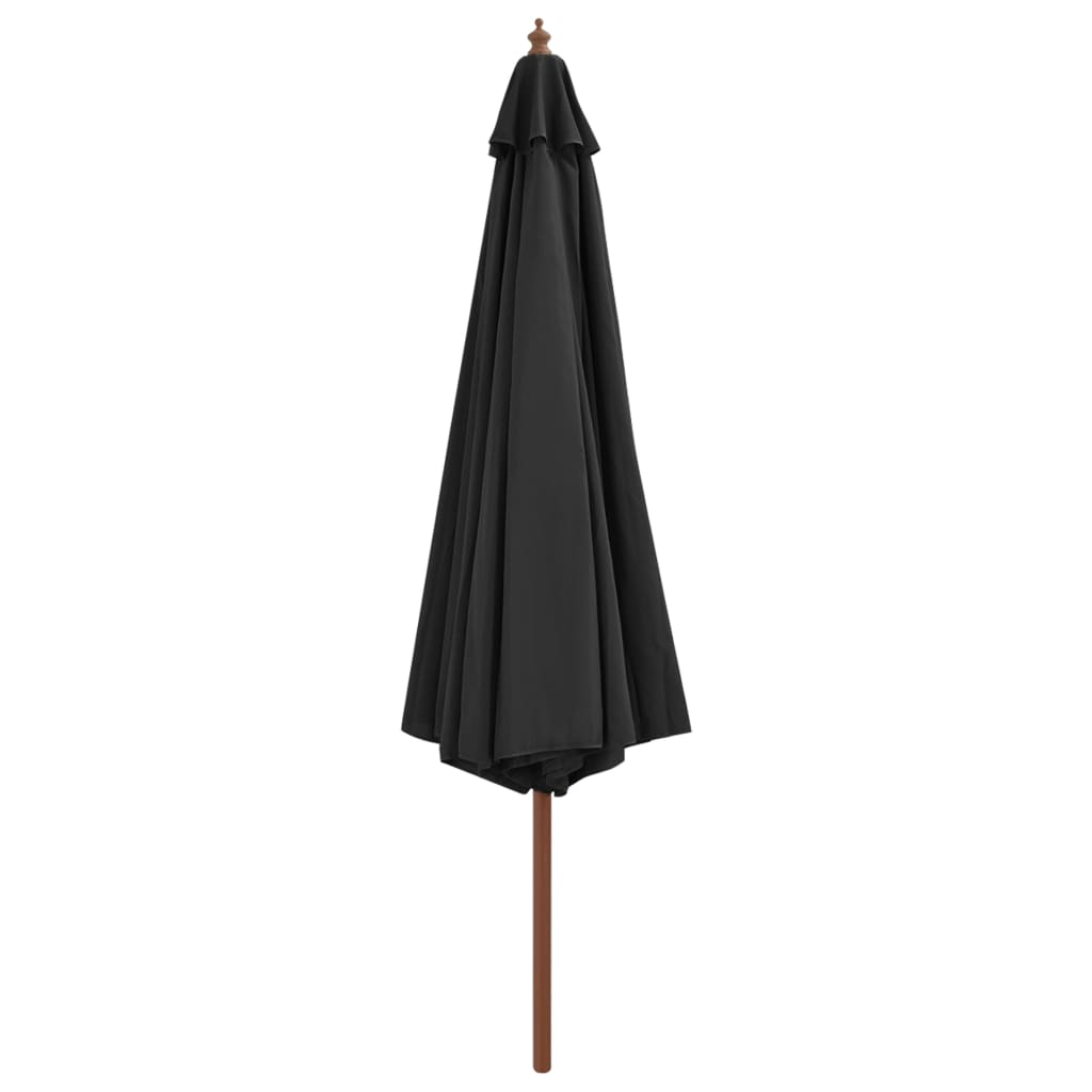 Outdoor Parasol with Wooden Pole 350 cm Anthracite 3