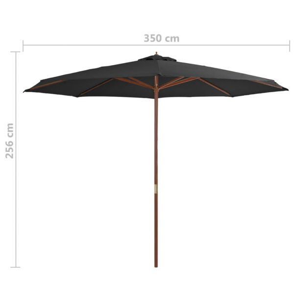 Outdoor Parasol with Wooden Pole 350 cm Anthracite 4