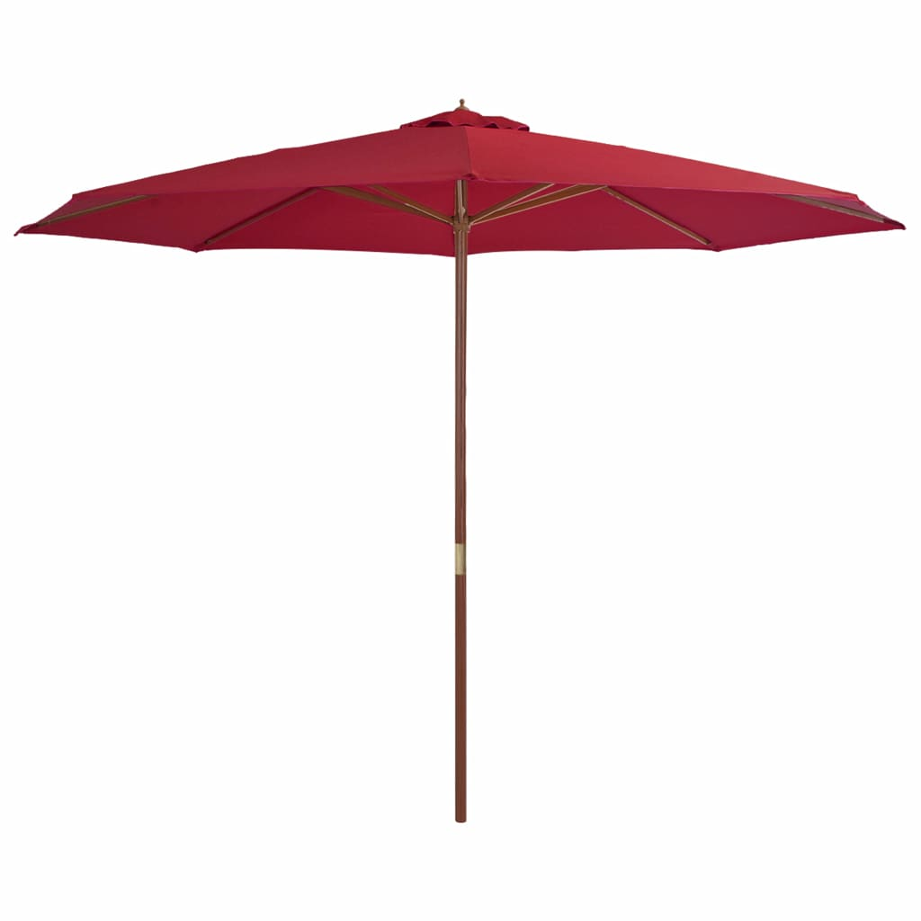 Outdoor Parasol with Wooden Pole 350 cm Burgundy 1