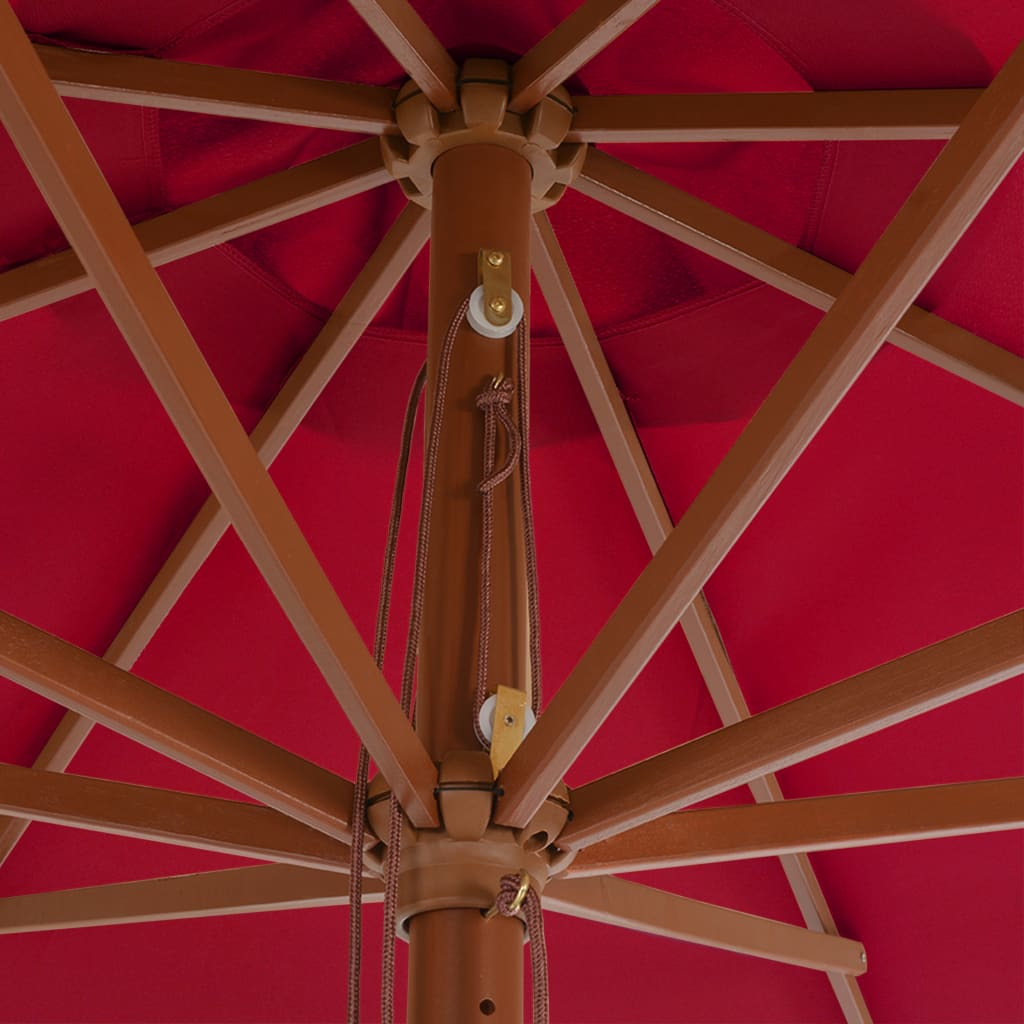 Outdoor Parasol with Wooden Pole 350 cm Burgundy 2