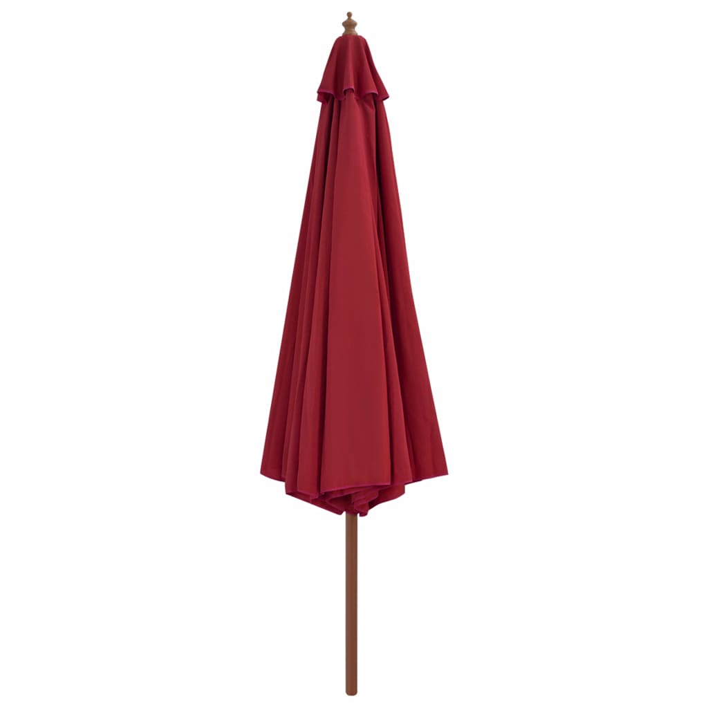 Outdoor Parasol with Wooden Pole 350 cm Burgundy 3