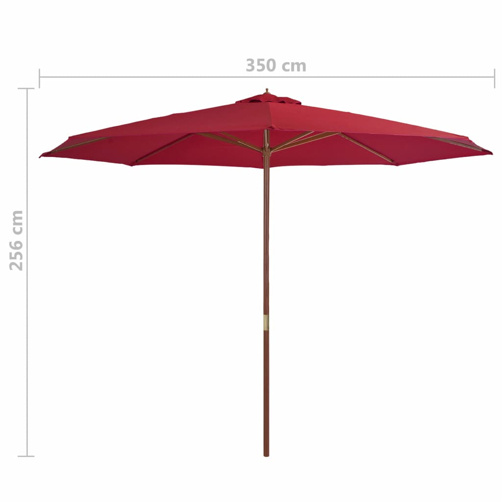 Outdoor Parasol with Wooden Pole 350 cm Burgundy 4