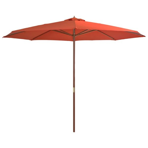 Outdoor Parasol with Wooden Pole 350 cm Terracotta 1