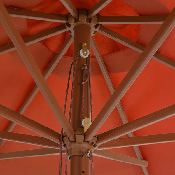 Outdoor Parasol with Wooden Pole 350 cm Terracotta 2