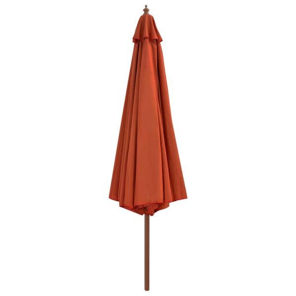 Outdoor Parasol with Wooden Pole 350 cm Terracotta 3
