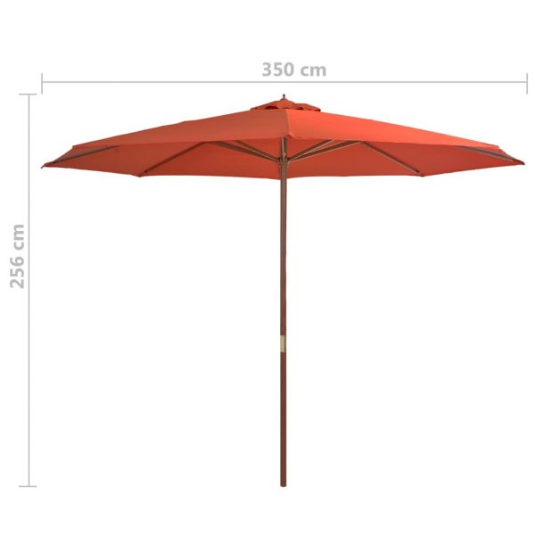 Outdoor Parasol with Wooden Pole 350 cm Terracotta 4