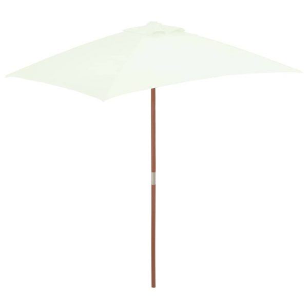 Outdoor Parasol with Wooden Pole 150×200 cm Sand 1