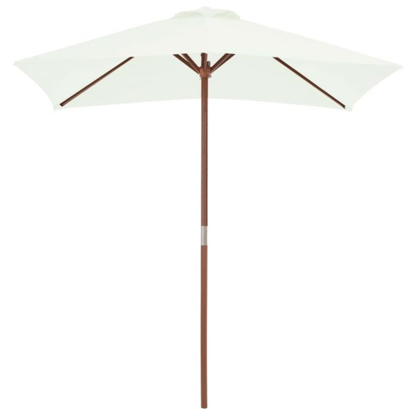 Outdoor Parasol with Wooden Pole 150×200 cm Sand 3