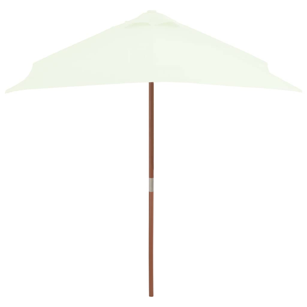 Outdoor Parasol with Wooden Pole 150×200 cm Sand 4