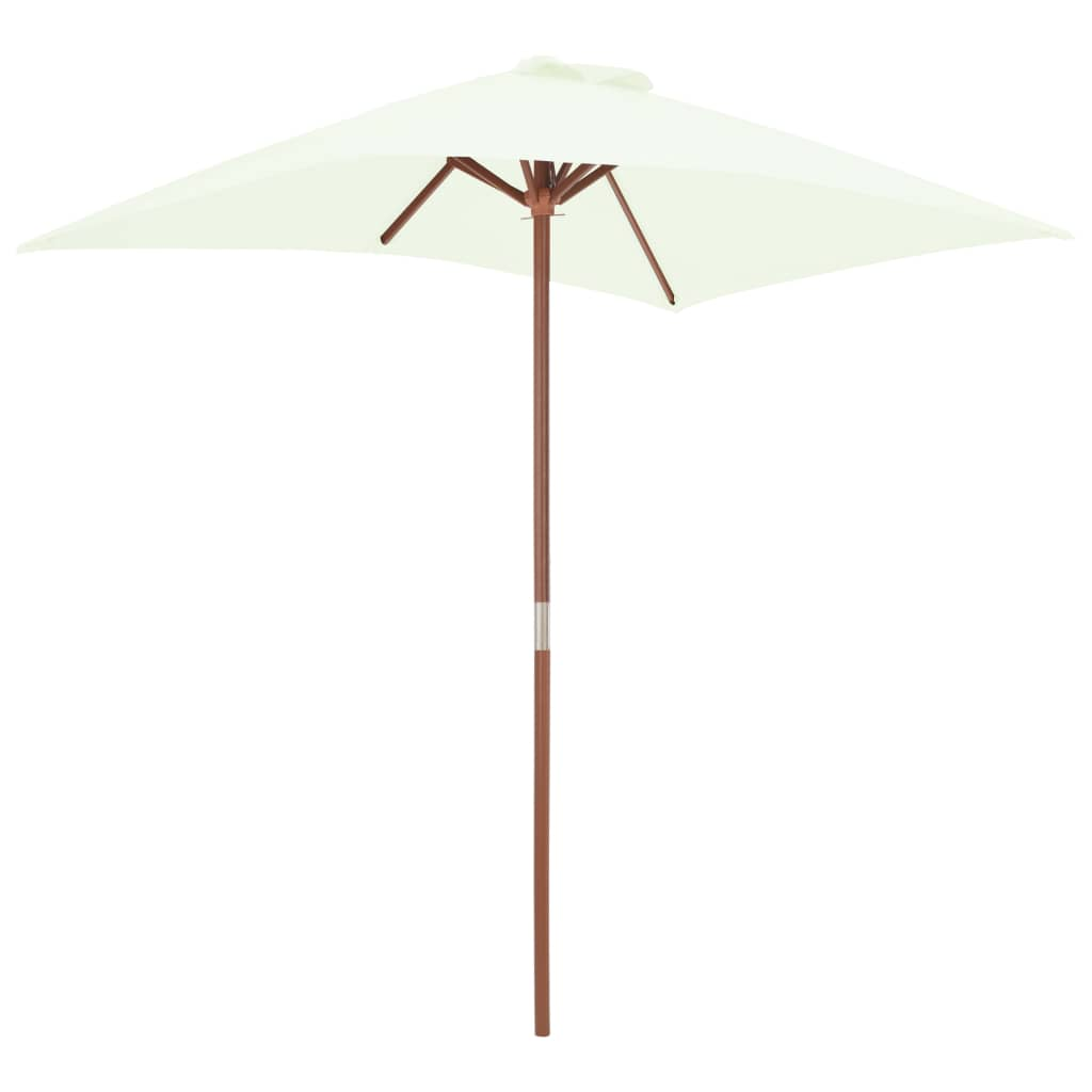Outdoor Parasol with Wooden Pole 150×200 cm Sand 5