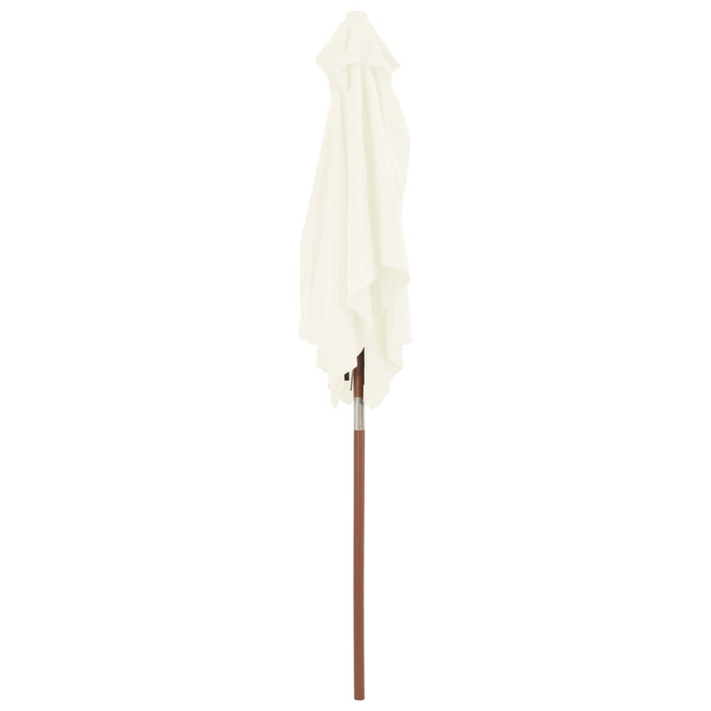 Outdoor Parasol with Wooden Pole 150×200 cm Sand 6