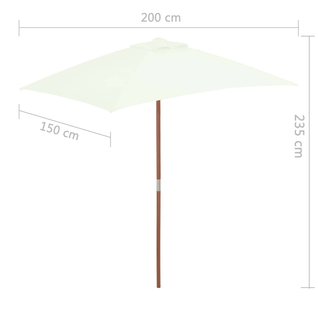 Outdoor Parasol with Wooden Pole 150×200 cm Sand 8