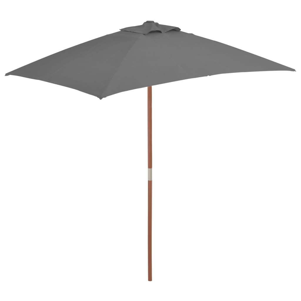 Outdoor Parasol with Wooden Pole 150×200 cm Anthracite 1