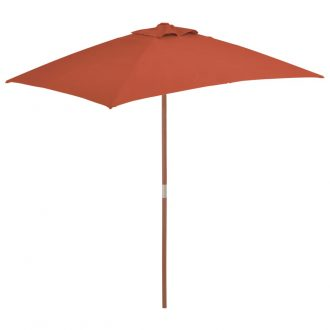 Outdoor Parasol with Wooden Pole 150×200 cm Terracotta 1