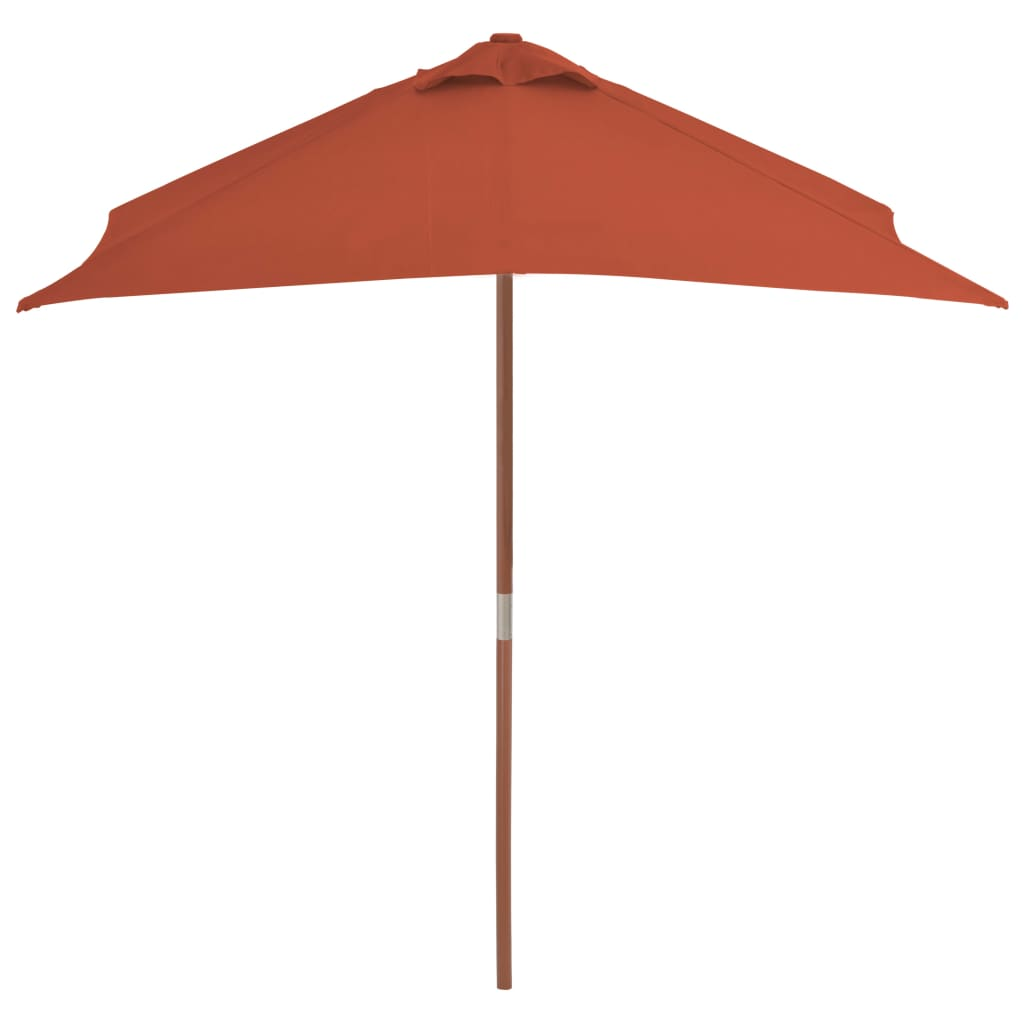 Outdoor Parasol with Wooden Pole 150×200 cm Terracotta 3