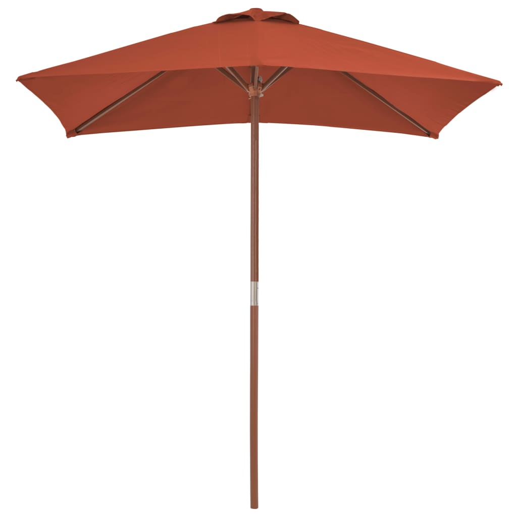 Outdoor Parasol with Wooden Pole 150×200 cm Terracotta 4