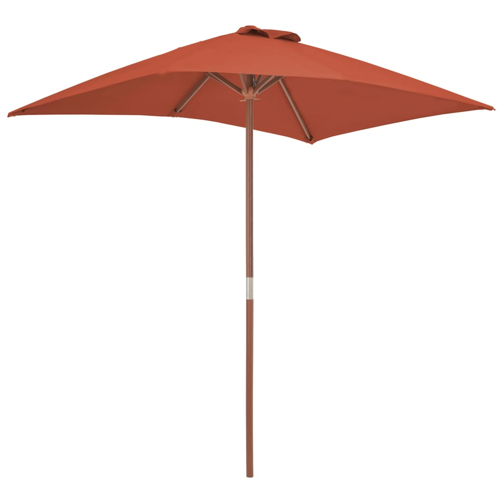 Outdoor Parasol with Wooden Pole 150×200 cm Terracotta 5