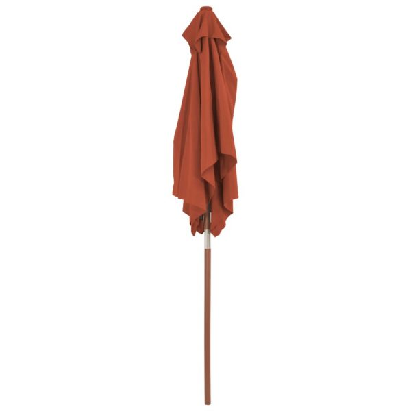 Outdoor Parasol with Wooden Pole 150×200 cm Terracotta 6