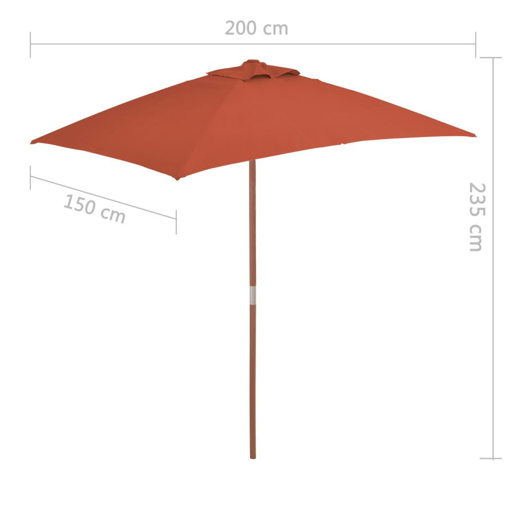 Outdoor Parasol with Wooden Pole 150×200 cm Terracotta 7