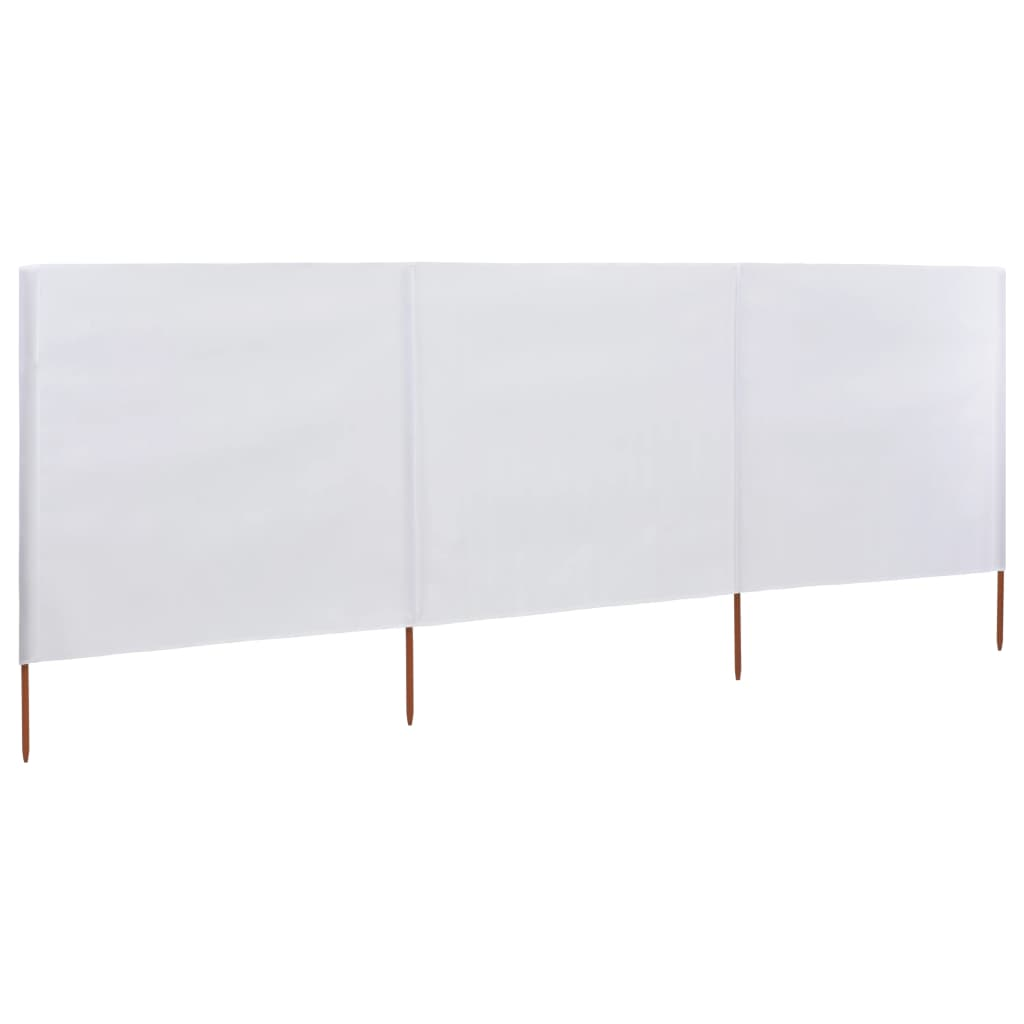 3-panel Wind Screen Fabric 400×120 cm White 1