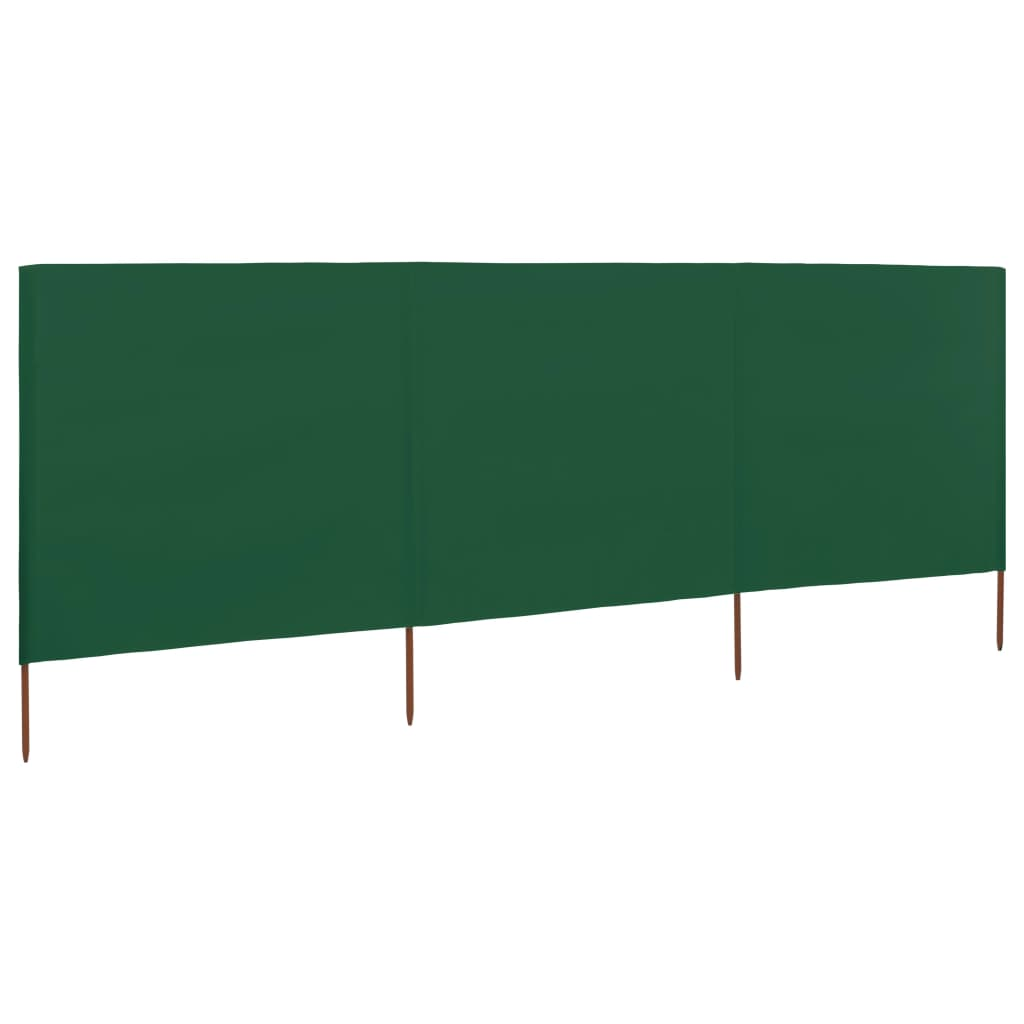 3-panel Wind Screen Fabric 400×120 cm Green 1
