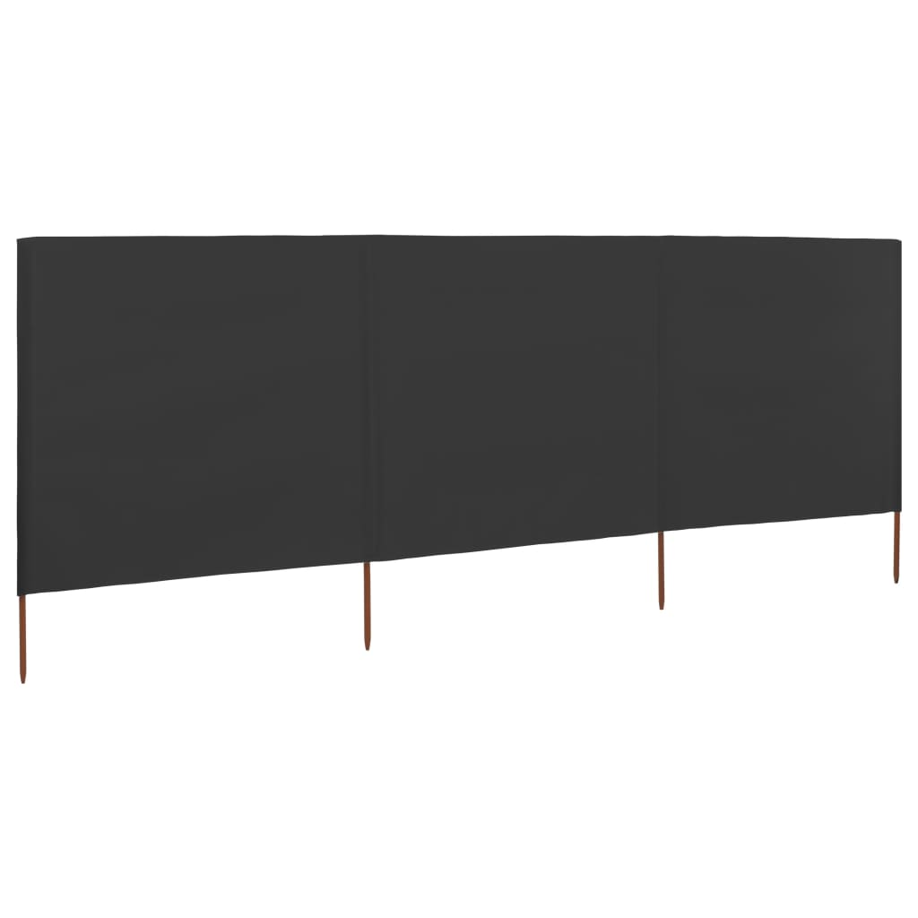 3-panel Wind Screen Fabric 400×120 cm Anthracite 1