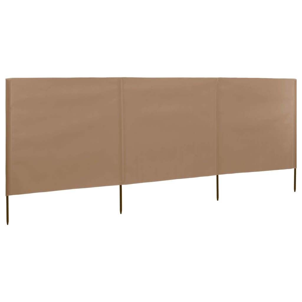 3-panel Wind Screen Fabric 400×120 cm Taupe 1