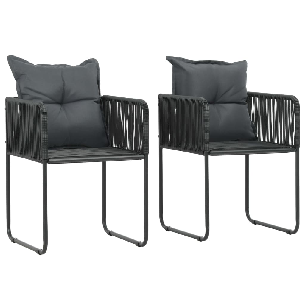 Outdoor Chairs 2 pcs with Pillows Poly Rattan Black 1