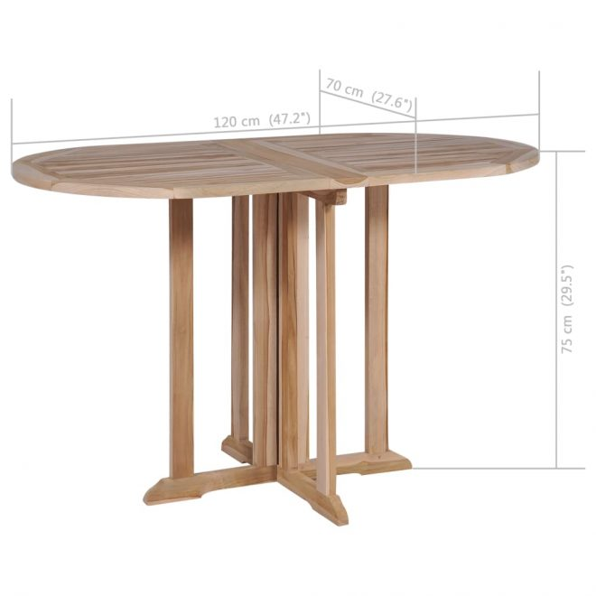 Folding Butterfly Garden Table 120x70x75 cm Solid Teak Wood 7