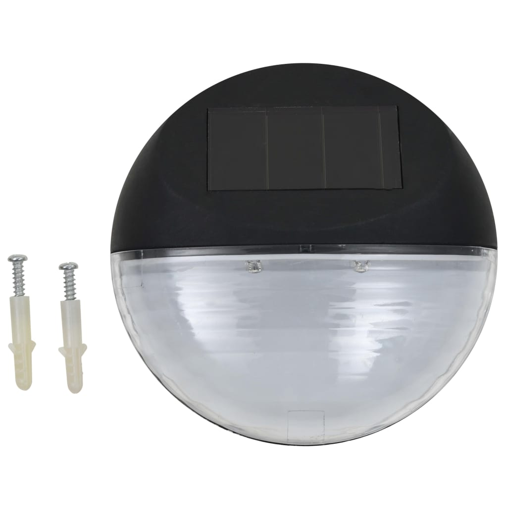 Outdoor Solar Wall Lamps LED 12 pcs Round Black 2